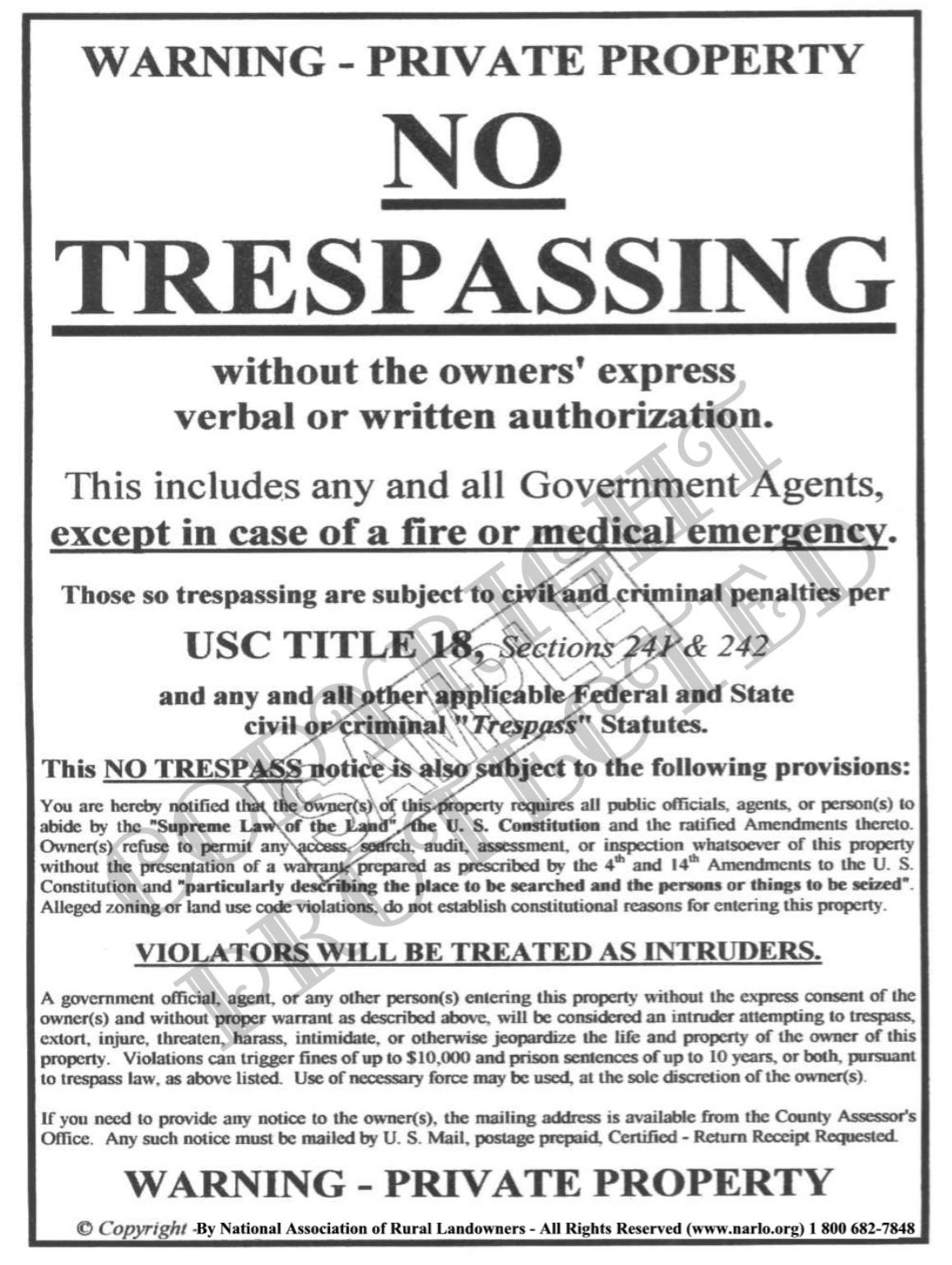 NARLO's No Trespassing Sign